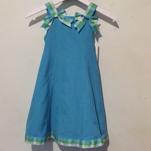 Other - Sz 5 Blue Dress with Plaid Bows
